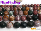 Natural Faceted Ocean Jasper Gemstone Round Loose Beads For Jewelry Making 15""