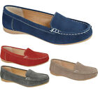 New Womens Ladies Slip On Leather Office Summer Casual Flat Loafers Shoes Sizes