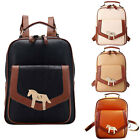 Women PU Leather Backpack Bookbag Vintage Metal Pony Shaped Plate Travel Handbag