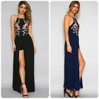 New Women's Flower Embroidery Party Dress Long Maxi Prom Jumpsuit Romper Trouser