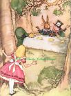 Alice In Wonderland Pink Tea Party Mad Hatter Rabbit Fabric Block 5x7 or 8x10 In