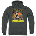 Betty Boop Betty's Motorcycles Mens Pullover Hoodie Charcoal $39.95 USD