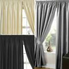 PLAIN FAUX SILK LINED TAPE TOP CURTAINS READY MADE PENCIL PLEAT CURTAIN PAIRS