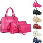 Simple Design Alligator Texture Zipper PU Women Sweet Handbag Satchel Purse Set