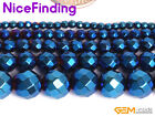 """Metallic Coated Hematite Blue Round Faceted Stone Beads For Jewelry Making 15"""""""