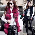 High Quality Women's Real Farm Fur Vest Long Waistcoat Sleeveless Gilet 2017