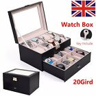 20/12 Grid Slots Leather Watch Display Box Jewelry Storage Organizer Holder Case