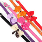 New Dog Collars Knit Bowknot Adjustable PU Leather Dog Puppy Pet Collar Necklace