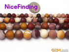 Natural Round Mookaite Jasper Gemstone Frost Matte Loose Bead Jewelry Making 15""