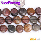 Coin Natural Picasso Jasper Gemstone Loose Beads For Jewelry Making Strand 15""