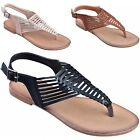 Women's Cage Cutout Woven T-Strap Thongs Slingback Roman Gladiator Flat Sandals