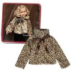Girls Kids Princess Leopard Faux Fur Capelet Cape Coat With Ribbon B20E