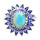 Larimar 2.95 Carat Tanzanite Gemstone Ring In 925 Sterling Silver Jewelry