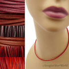 2 mm Red Leather Cord Necklace or Choker Custom Length pick colors Handmade USA