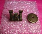 Army Engineer Corps Screw Back Tower Castle Collar Pin 1/20 12K GF Sterling