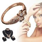 4pcs/Set Gold Plated Crystal Necklace Earrings Bracelet Ring Hollow Jewelry SC