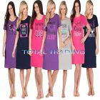 Ladies WOMENS Night Shirt Nightdress womens Nightie Nightshirt slogan COTTON