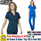 WonderWink Scrubs Set WORK Women's Mock Wrap Top  Flare Leg Pant 102/502