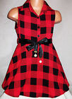 GIRLS RED & BLACK CHECK PRINT SLEEVELESS FLARED SHIRT DRESS with RIBBON BELT