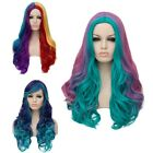 Women Colorful Party Cosplay Full Wig Lady Anime Long Curly Wavy Synthetic Hair