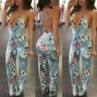 New women spaghetti strap floral print backless long jumpsuit pants party dress