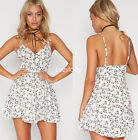 Women spaghetti strap flower print mini beach summer sleeveless playsuit dress