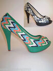 Women's court shoes decorated embroidered peep toe high heel 12 plateau sexy