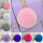 Rabbit Fur Ball PomPom Cell Phone Car Keychain Pendant Handbag Cute Key Ring JR