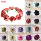10Pcs Camellia Flower Heads for Wedding Hair Clip Corsage DIY Decor Crafts