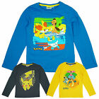 Boys Official Starter Pokemon Pikachu Long Sleeve Cotton T-Shirt Top 4-12 Years