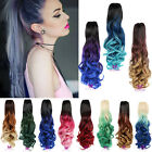 Lady Jaw Ponytail Clip in Hair Extension Claw on Ombre Hairpiece curly Pony Tail