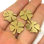 10/50 Pcs Real Gold Plated Solid Stainless Steel Four Leaf Clover Charms Pendant