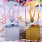 10/50 Gold/Silver/White Chair Wedding Favour Candy Boxes Ribbons Gift Party