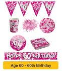 AGE 60/60th Birthday PINK SPARKLE Birthday Party Range - Tableware Banners Decs