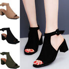 Women's Peep Toe Cut Out Strap Mid Chunky Heel Sandals shoes Summer US Size 2017