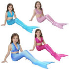 3PCS Girl Kids Mermaid Tail Swimmable Bikini Set Swimsuit Swimming Costume 4-12Y