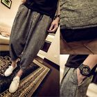 Men's Casual Loose Cotton Linen Baggy Pants Relaxed Overalls Trousers Plus Size