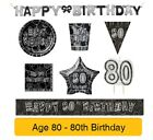 AGE 80 - 80th Birthday BLACK & SILVER GLITZ - Party Balloons,Banners&Decorations