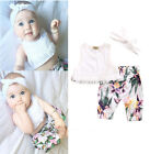 3PCs Newborn Baby Girl Clothes Tops Floral Pants Headband Outfit Set Clothes