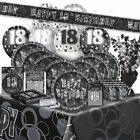 AGE 18 - Happy 18th Birthday BLACK & SILVER GLITZ - Party Range, Banners, Napkin