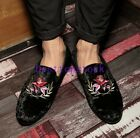 Mens Fashion Low Heel Embroidery Evening Party Korean Europe Loafer Shoes New