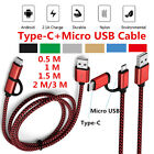2 in 1 Combo Type C & Micro USB Braided Heavy Duty Charging Sync Data Cable Lot