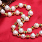 AA 11-12 mm white freshwater pearl necklace Sweater chain gilded women gift