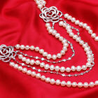 AA7-8mm White natural pearl necklace Plating platinum inlay zircon