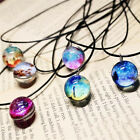 2017 New Stars Short Glass Galaxy Pattern Necklaces Glass Pendant Necklace