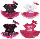 Happy 1ST Mother Day Heart Pink Cotton Bodysuit Girls Baby Dress Outfit NB-18M