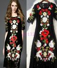 New Italy Runway high Summer Womens Floral Black Stylish Embroidered Lace Dress