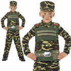 Camouflage Military Costume Army Uniform Boys Childrens Fancy Dress Age 4-12