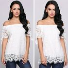 Solid Hollow Lace Off The Shoulder Slash Neck Short Sleeve Pullover EN24H