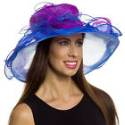 Silver Lilly Women's Wide Brim Organza Kentucky Derby Church Hat